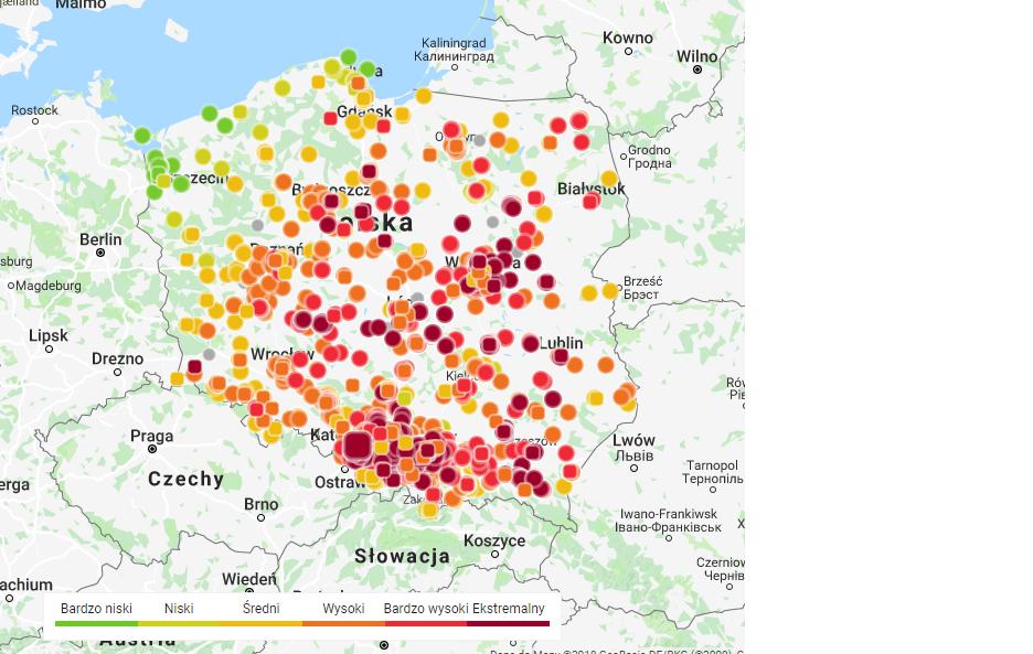Mapa smogu w Polsce